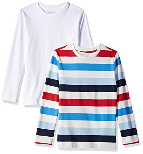 Amazon Essentials Big Boy's 2-Pack Long-Sleeve Tees, Multi Stripe White and White Solid, XL (12) Boys Clothes White Turtleneck