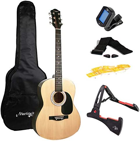 Martin Smith 6 Acoustic SuperKit Stand Tuner Bag Strap Picks and Guitar Strings Right Natural product image