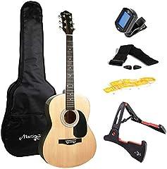 Martin Smith W-101-N-PK - Guitarra acústica con el soporte de guitarra, sintonizador, bolsa de púas, correa y cuerdas de la guitarra naturales