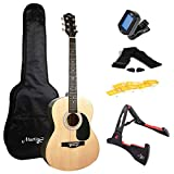 Martin Smith Guitare Acoustique avec Support Guitare Sac Guitare Accordeur de Guitare Sangle de Guitare Médiators et Cordes de Guitare Naturelles