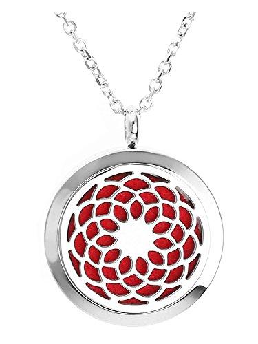 Jovivi Aromatherapie Kette aus Edelstahl Ätherische Öle Parfum Diffusor Halskette Hollow Blume Floating Medaillon Locket Käfig Anhänger