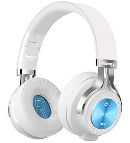 Bluetooth-Kopfhörer, Rriwbox XBT-880 Faltbare, kabellose Stereo-Kopfhörer Over-Ear mit Mikrofon und Lautstärkeregelung, mit und ohne Kabel, für PC/Handys/TV/iPad (Weiß/Blau)