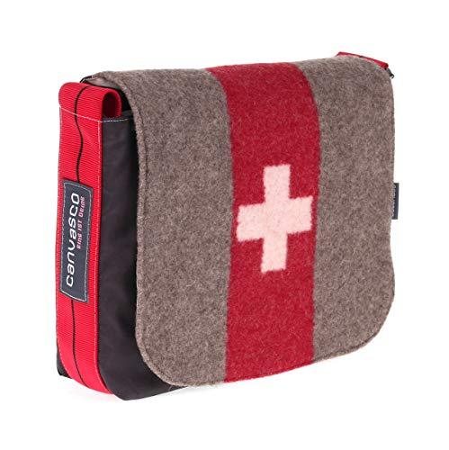 Segeltuchtasche CANVASCO Mini Suisse/Segel Schoko/Gurt rot-schwarz/Armeedecke vertikal