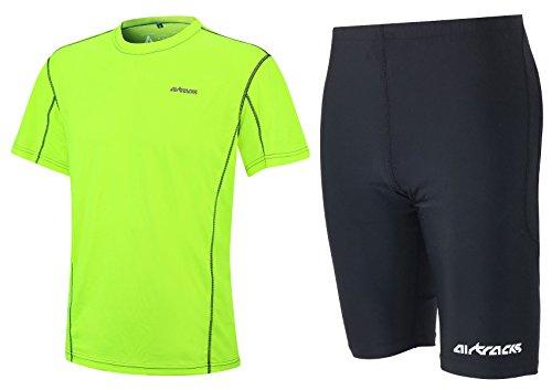 Airtracks FUNKTIONS-LAUFSET - Tight-KURZ PRO AIR + T-Shirt Kurzarm PRO AIR - neon-schwarz - M