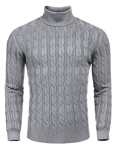 COOFANDY Men's Slim Fit Turtleneck Sweater Casual Twisted Knitted Pullover Sweaters, Grey, Large