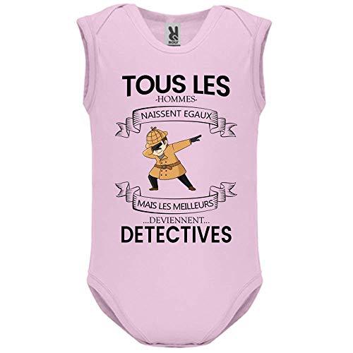 LookMyKase Body bébé - Manche sans - Tous Les Hommes Naissent Egaux mais Les Deviennent Detectives - Bébé Fille - Rose - 12MOIS