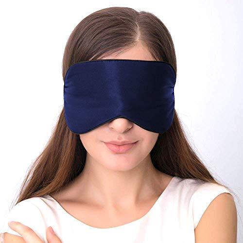 Seidenschlaf-Augenmaske, Schlafmaske, verstellbarer Gurt, leichte Augenbinde für Reisen, Schlafen, Nickerchen und Meditation (Blau)