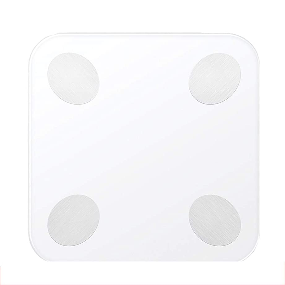 回転させる区に勝る高精度体重計デジタル健康的な失う体重浴室スケールミニ隠しスクリーンディスプレイ強化ガラス180キログラム容量ホワイト