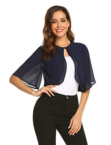 Parabler Damen Festlich Chiffon Bolero Kurze Ärmel Elegant Jacke Schulterjacke Durchscheinendes Looes Cardigan für Sommer Blau Dunkelblau XL