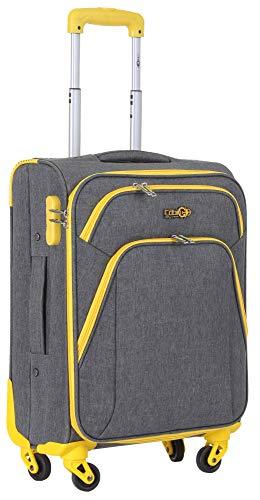 CABIN 5615 Valigia Trolley Morbido, bagaglio a mano 55x40x20 con 4 ruote e Chiusura TSA, grande valigia Per Ryanair, Alitalia, Air Italy, easyJet, Lufthansa