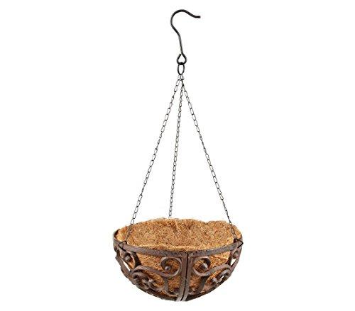 Dehner Hängeampel inkl. Kokoseinlage, Ø ca. 30 cm, Gusseisen/Kokosfaser, braun