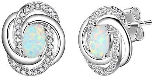 Pendientes de ópalo , pendientes de plata 925 para mujer, joyería de ópalo en forma de espiral de ópalo blanco, joyería de moda para bodas, pendientes para mujer