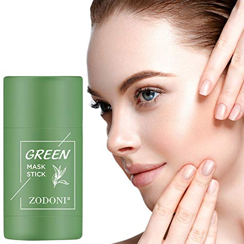 1PC Green Tea Purifying Clay Stick Mask, Oil Control Anti-Acne Eggplant Solid Fine, Deep Cleansing Oil Control Anti-Acne Mask, Pores Shrink Net Content: 40g (Green)