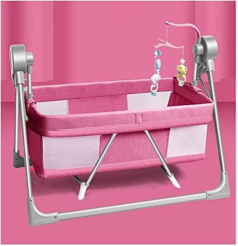NYCUABT Baby bassäng, bärbar baby vagga med musik, vapen når sovande bassinet, nyfödd baby spjälsäng, justerbar bärbar säng för spädbarn/baby pojke/baby flicka (färg: grå) (Color : Pink)