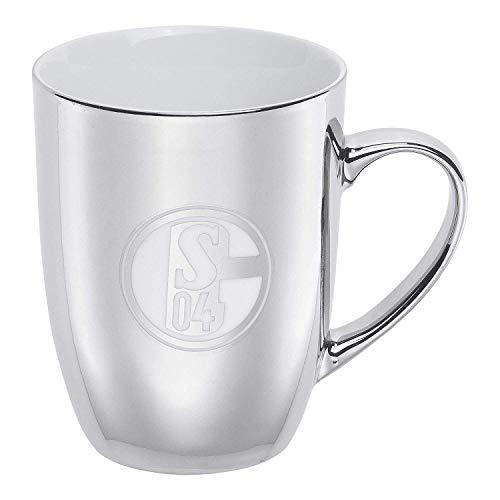FC Schalke 04 Kaffeetasse - Silber - Becher, Kaffeebecher, Tasse, Mug S04 - Plus Lesezeichen I Love Gelsenkirchen