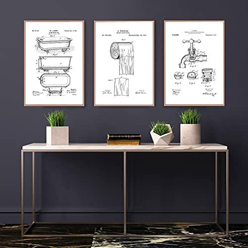 Pintura De Pared Arte BañEra Grifo Cepillo Papel HigiéNico Dibujos DecoracióN De BañO Cartel Vintage Divertido Negro Blanco Minimalismo ImáGenes 60x80cmx3 Sin Marco
