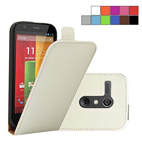 COOVY® Funda para Motorola Moto G XT1032 XT1033 (1. Generation Model 2013) Cubierta Delgado, con Tapa, lámina Protectora de Pantalla | Color Blanco