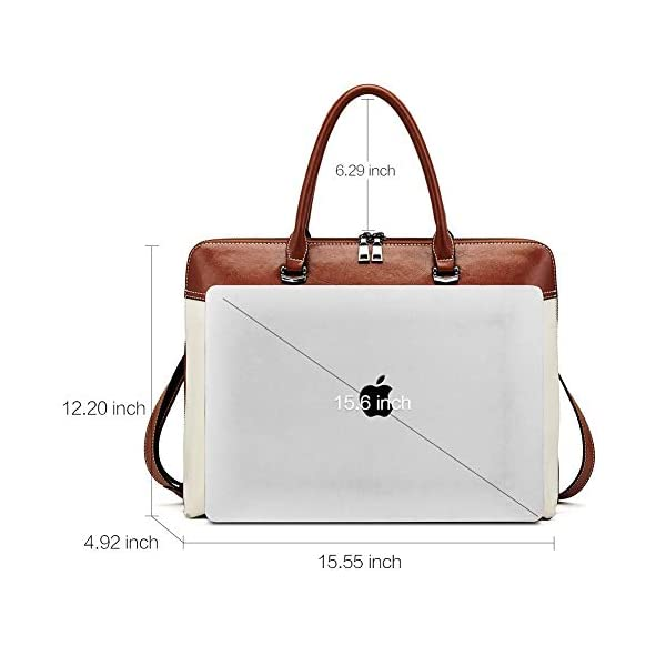CLUCI Briefcase for Women Oil Wax Leather 15.6 Inch Laptop Business Vintage Slim Ladies Shoulder Bag Beige with Brown Handbags Purse for Women Designer Genuine Leather Brown 2