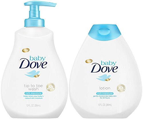 Baby Dove Rich Moisture Bundle, Tip to Toe Wash and Lotion, 13 Ounce Each