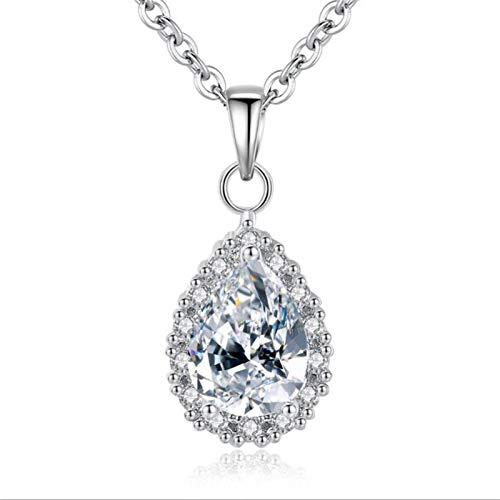 Collar de plata Collares colgantes de gota de agua de cristal para mujer Regalos de joyería (Length : 45cm, Metal Color : Rose gold)