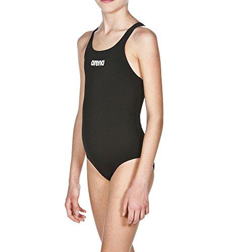 arena Mädchen Trainings Badeanzug Solid Swim Pro (Schnelltrocknend, UV-Schutz UPF 50+, Chlorresistent), schwarz (Black-White), 164