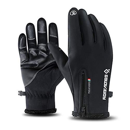 XIAOYAO Fahrradhandschuhe Vollfinger Touchscreen Winddicht Wasserdicht Outdoor Sport Handschuhe Herren Damen für Herbst oder Frühling Winter (Schwarz, XL)