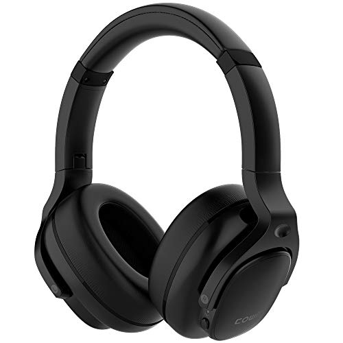 COWIN E9 Active Noise Cancelling Headphones Bluetooth Headphones Wireless Headphones Over Ear with Microphone/Aptx, Comfortable Protein Earpads, 30 Hours Playtime for Travel/Work, Black