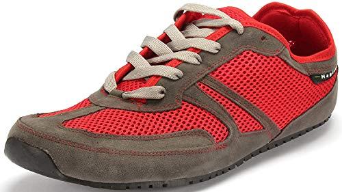 Magical Shoes Explorer Vegan Barfußschuhe | Damen | Herren | Jugendliche | Laufschuhe | Zero Drop | Flexibel | Rutschfest, Größen:39/250mm, Farbe:MS Explorer Vegan - Grau/Rot