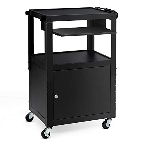 Tangkula Mobile Metal AV Cart Computer Cart with Locking Cabinet, Height Adjustable Computer Workstation with 4 Casters, Pullout Keyboard Tray, Power Strip, Versatile Utility AV Cart (Black)