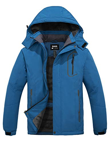 Skieer Men's Skiing Fleece Jacket Hooded Mountain Rainwear Winter Coat Blue M