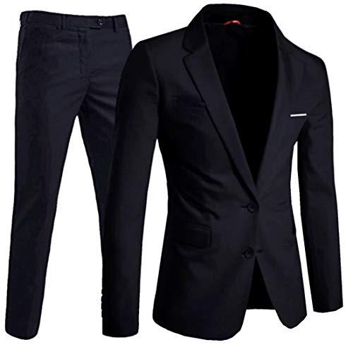 keskin collection Herren Anzug Schwarz Slim Fit Modern Fit mit Stretch Anteil (46, Schwarz)