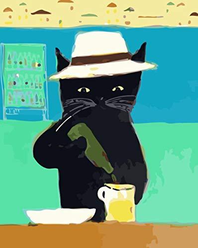 QRTQ DIY schilderen op nummer-voorbedrukte canvas-olieverfschilderij kattenpatroon Het sap macht op canvas geschenk schilderen op nummer-kits huis decoratie zonder lijst 40x50 cm