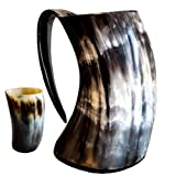 Mean Muggin - Genuine Viking Drinking Horn Mug Medieval Beer Tankard - 20 fluid ounces capacity - Horn Cup/Stein with Horn Shot Glass - Perfect Gift