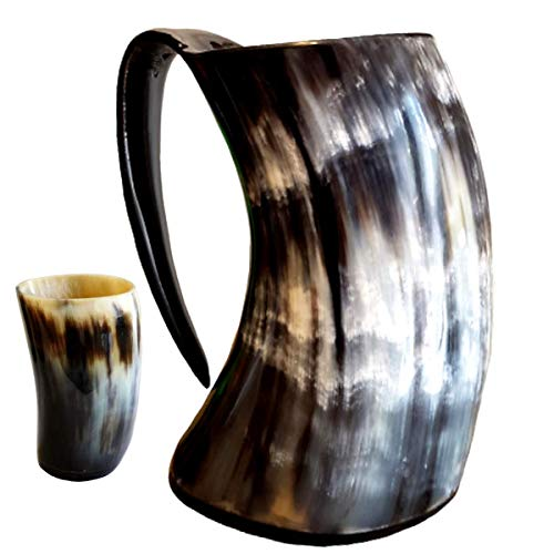 Mean Muggin - Genuine Viking Drinking Horn Mug Medieval Beer Tankard - 20 fluid ounces capacity -...