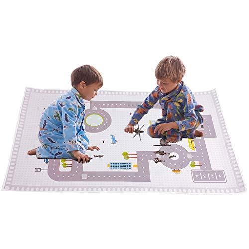 teppich kinderzimmer, Spielteppich Autoteppich Straßenteppich City Hafen Straßenteppich -130 x 80CM Spielzeug Teppich - Ideal fürs Kinderzimmer