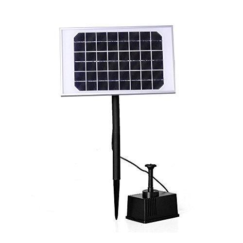Froadp 2W Solar Vijverpomp Fonteinpomp Zonnepomp Tuinfontein Waterornament Fontein Vijverfontein Pomp voor Tuin Terras Gazon Mini Vijvers Watertuinen Tuindecoratie(9V, Type B)