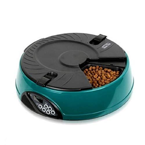 2 in 1 Futterautomat Katze Hund Automatischer Futterspender Pet Feeder mit Timer LCD Bildschirm und Ton-Aufnahmefunktion bis zu 6 Mahlzeit Tabletts für Trockene und Nasse Nahrung,Grün