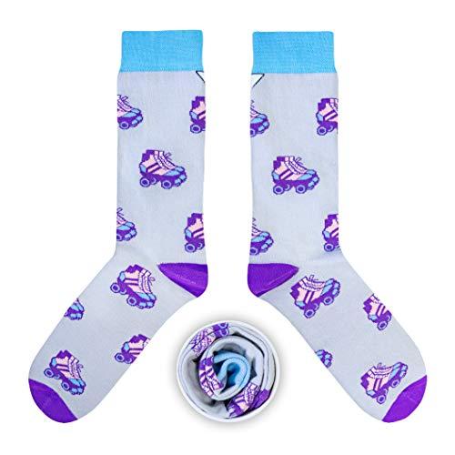CUP OF SOX Damen Herren Lustige Socken mit Rollschuhe in der Pappbecher - Gemusterte Bunte Geschenk Socken aus Hochwertiger Baumwolle (Lila, 41-44)