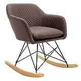 IDIMEX Fauteuil à Bascule ADELANO Rocking Chair Relax avec Coussin et accoudoirs Design scandinave Pieds en métal Noir et Bois, Chaise en Tissu Brun foncé
