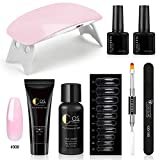 Kit Poly Nail Gel Extension Construction Quick Building 6W Lampe UV/LED Sèche Ongle Basecoat Topcoat Manucure Outils Nail Art Set