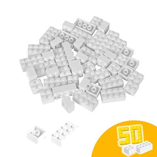 Simba 104114125 Steine-104114125 Blox, 50 weiße Bausteine Made in Italy, 16x 8er und 34x 4er Steine, höchste Qualität und 100 Prozent kompatibel mit bekannten Spielsteinen