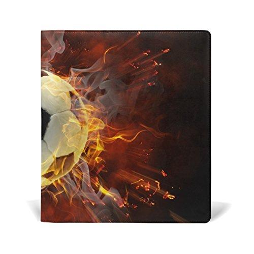 tizorax Flamy Fußball Symbol dehnbar Buch umfasst passend für die meisten Hardcover lehrbüchern. bis zu 9X 11. Klebstofffreie, PU Leder Schule Buch Displayschutzfolie. Leicht, um auf Jacke
