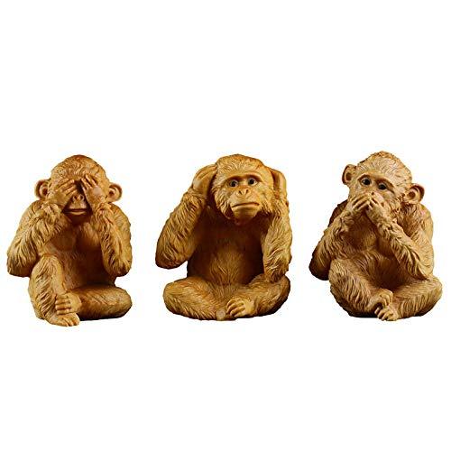 ZSQZJJ Modernos Estatuas Figuritas Adornos de Interior Estatuas Decorativas,Estatua de Animal de Tres Monos No mires No escuches No digas Artesanía de Talla de boj