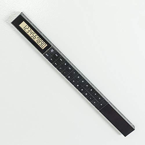 Made By Humans Ruler Calculator - Imperial 12-inch and Metric 30cm Ruler with Basic Functions Display Calculator - Novelty Desk Accessory - Black