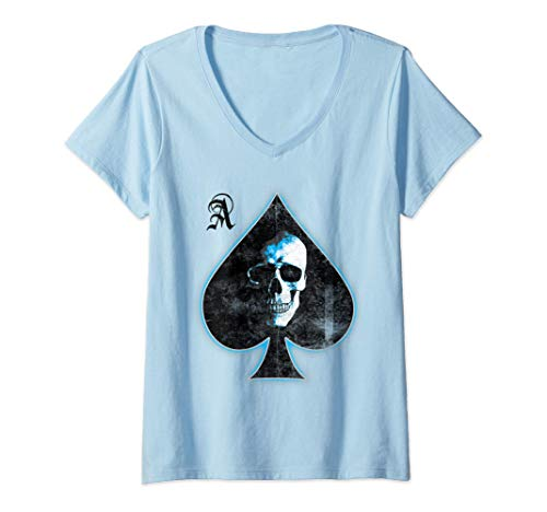 Mujer Ace of Spades Skull Texas Hold'em Playing Card Camiseta Cuello V