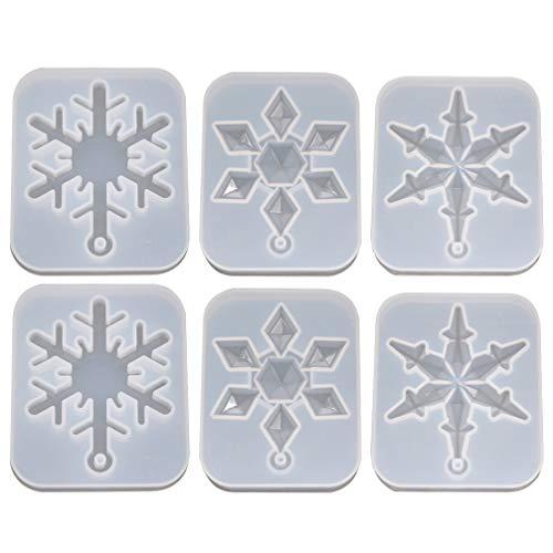 EXCEART 6 Piezas de Moldes de Silicona de Copo de Nieve de Navidad DIY Moldes de Resina Epoxi para Fabricar Colgantes de Joyería Moldes para Proyectos de Arte DIY