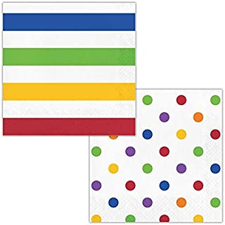 Creative Converting Rainbow White Stripes and Polka Dots 2-Sided Paper Luncheon Napkins 16-Pieces, Large