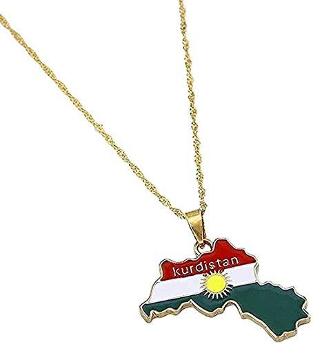 ZPPYMXGZ Co.,ltd Collar de Color Dorado región de kurdistán Mapa Collares Pendientes joyería del Encanto para Mujeres Hombres Regalos