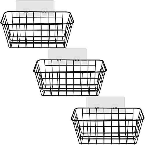 SIMIN 3 PCS Estantes Cesta para Ducha Adhesivo, organizadores de cocina versátiles, Estante de Almacenamiento de Baño Sin Perforación, Cesta de metal multiusos para cocina o despensa - Negro