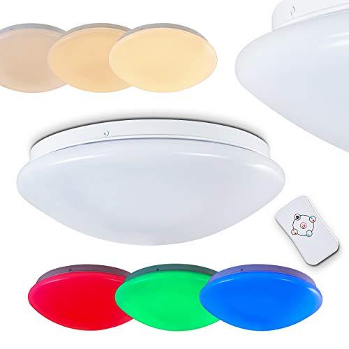 LED Deckenleuchte Brighton, runde Deckenlampe mit RGB Farbwechsler und Fernbedienung, dimmbar, mit Nachtlichtfunktion, 12 Watt, 850 Lumen, Lichtfarbe 3000 Kelvin (warmweiß)